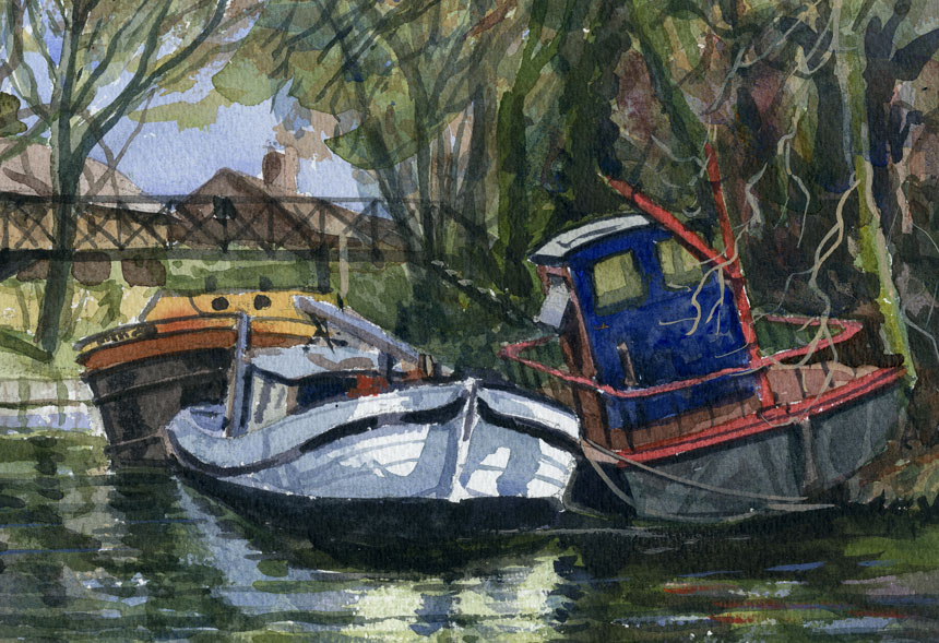 Barges, staines, Thames, watercolour, plein air, Rob Adams