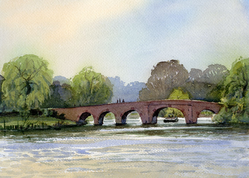 Sonning, Thames, Bridge, watercolour, plein air, Rob Adams