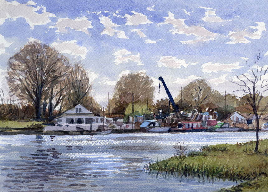 Chertsey, Thames, watercolour, river, boatyard, rob adams, plein air