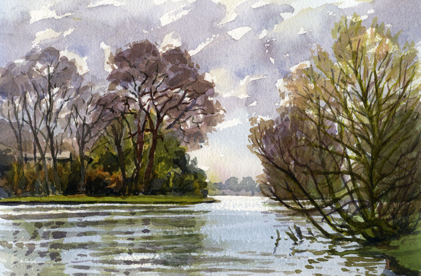 Shiplake, thames, plein air, watercolour, river, Rob adams