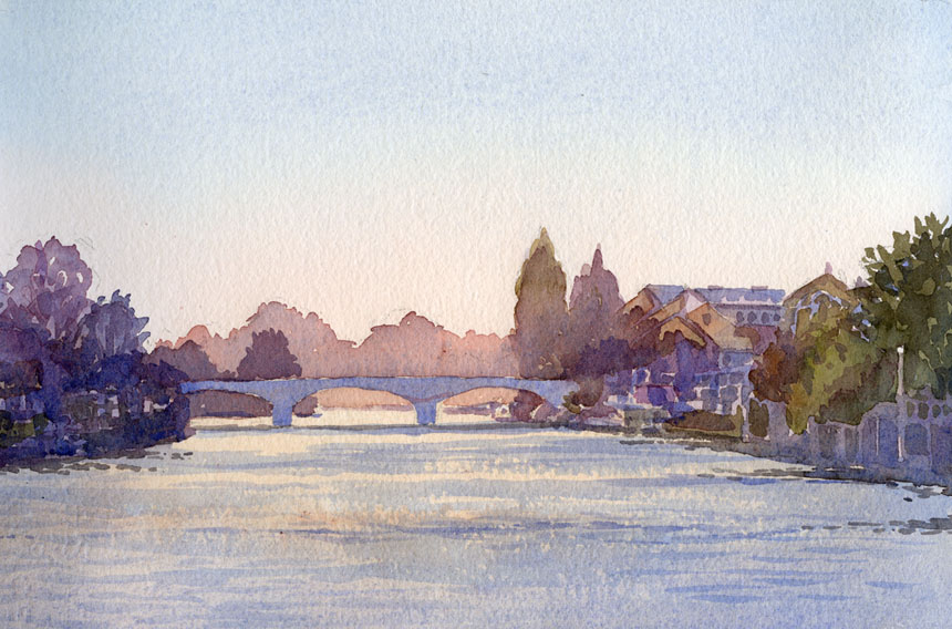 Staines, Thames, watercolour, plein air, rob Adams