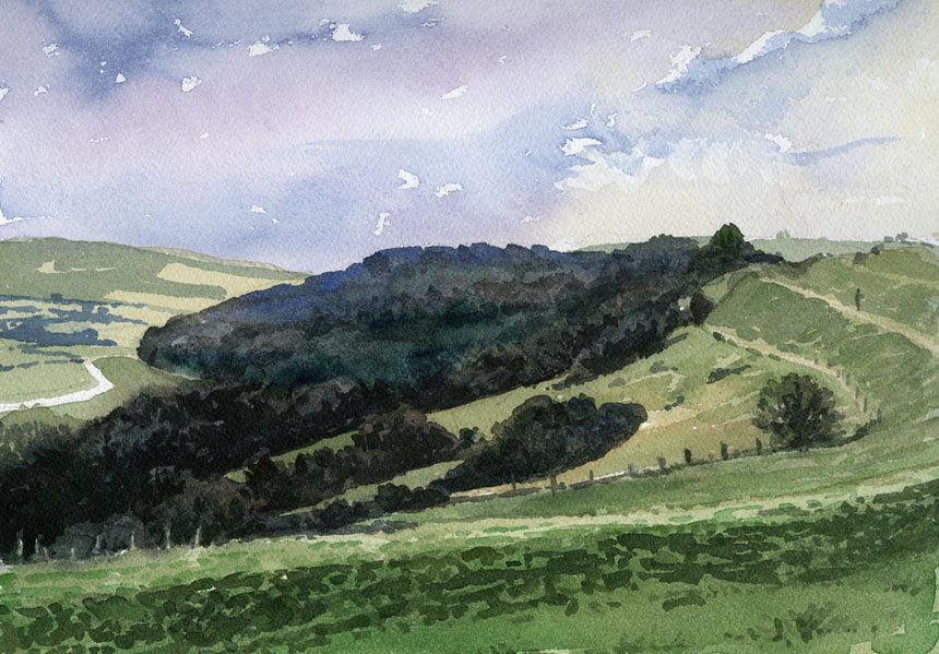 Hambledon Hill, Dorset, watercolour, plein air, rob adams