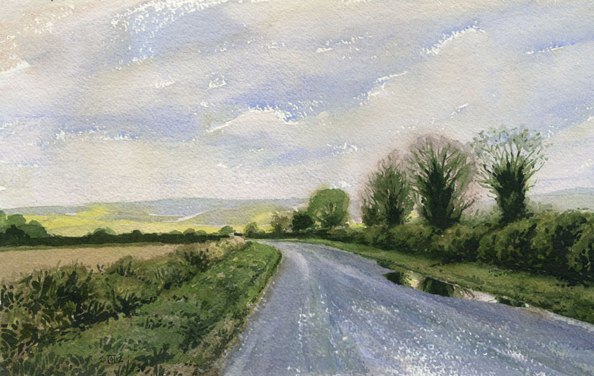 Dorset, road, watercolour, Rob Adams, pimperne