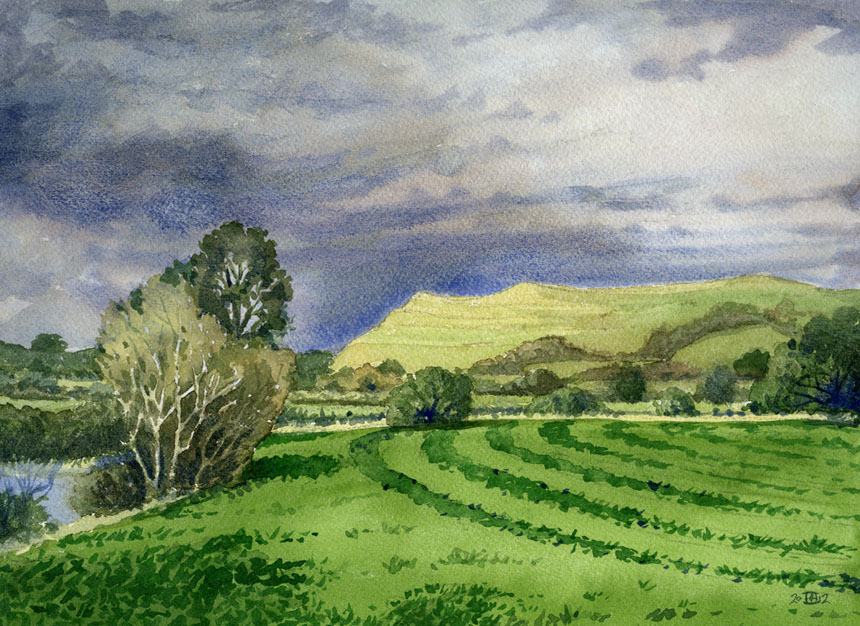 Hambledon hill, dorset, Childe okeford, watercolour, rob adams