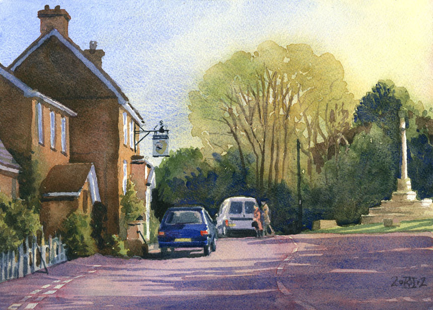 Childe Okeford, Dorset, watercolour, painting, rob adams
