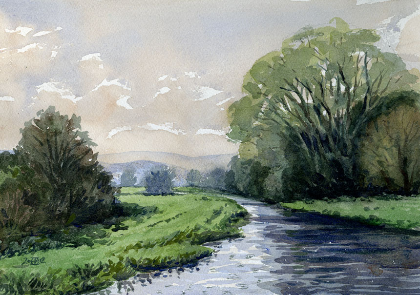 Salisbury, Britford, avon, wiltshire, watercolour, robadams