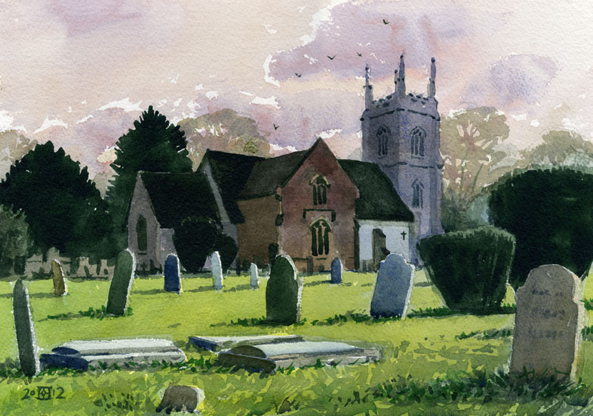 Church, graveyard, Hartley Wintney, watercolour, painting, rob adams