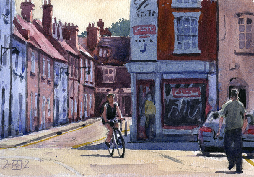 bicycle, canterbury, watercolour