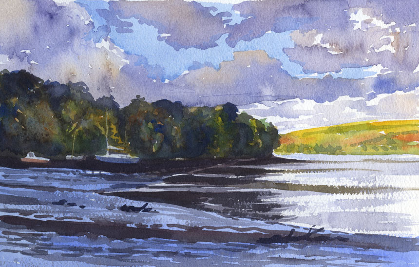 Cardigan, Teifi, river, watercolour
