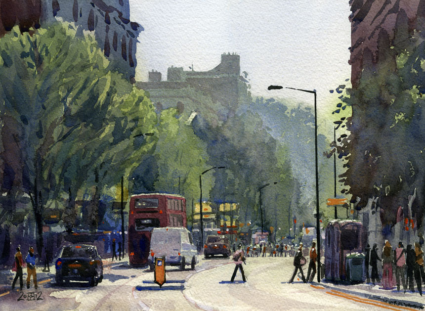 london, charing cross, street, watercolour