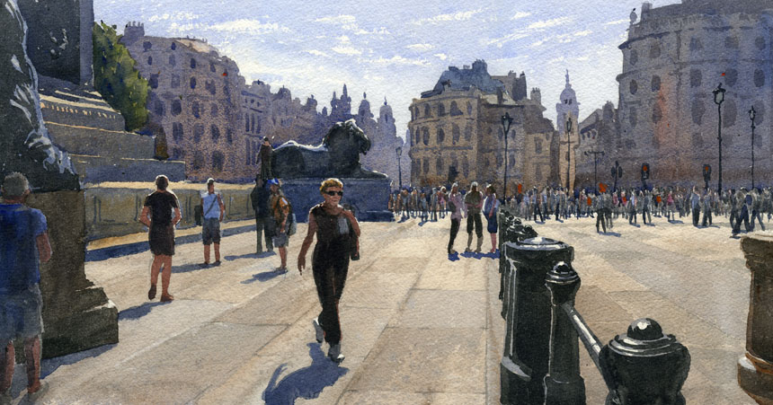 Trafalgar square, london, watercolour