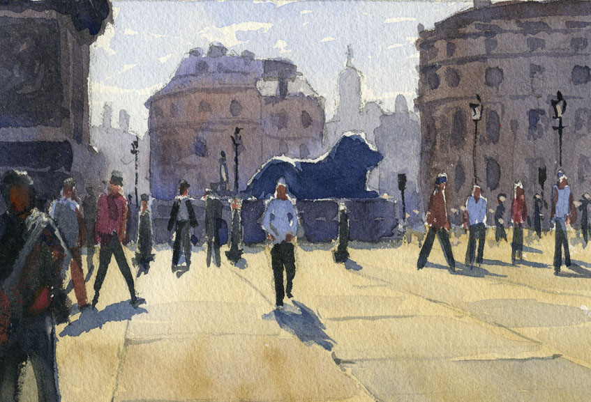 London, trafalgar square, plein air, watercolour