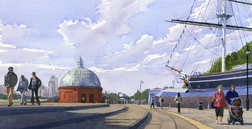 Cutty Sark, Greenwich, london, watercolour