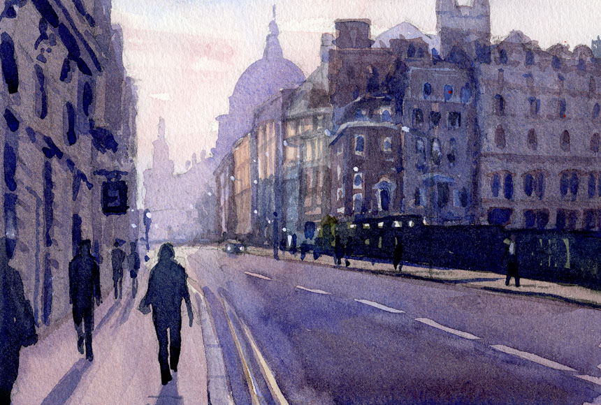 London, plein air, cannon st, watercolour