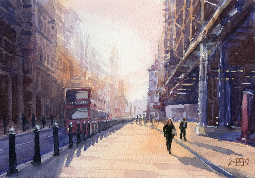 London, cannon st, watercolour, plein air