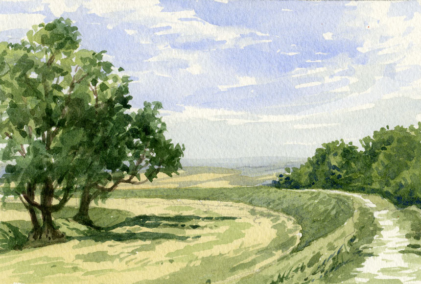 Figsbury ring, Wiltshire, watercolour