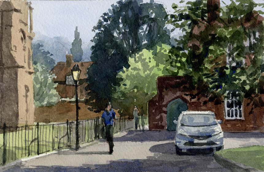 Winchester, watercolour, plein air