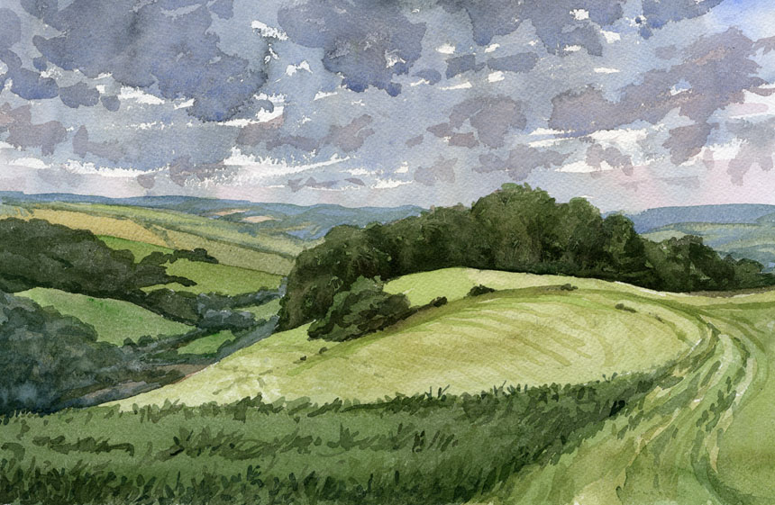 Fontmell Down, dorset, watercolour, plein air