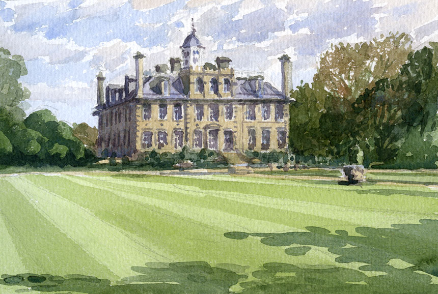 Kingston Lacy, dorset, house, mansion, watercolour, plein air