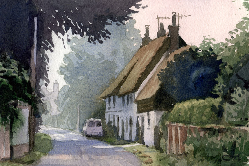 Stourpaine, mist, watercolour, Dorset, plein air