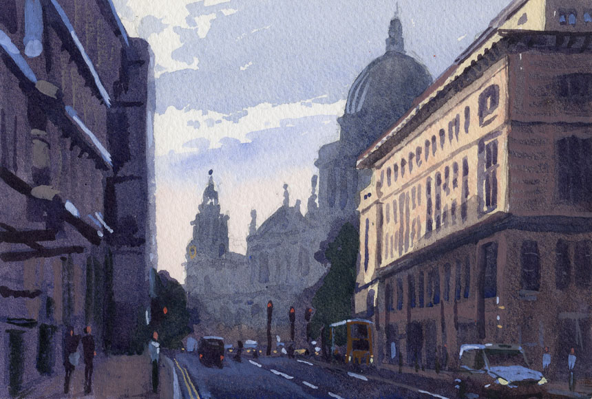 St Pauls, London, watercolour, plein air, City