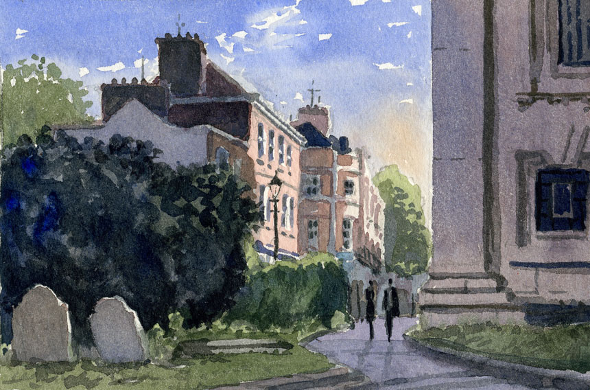 Greenwich, London, church plein air, wapping group, watercolour