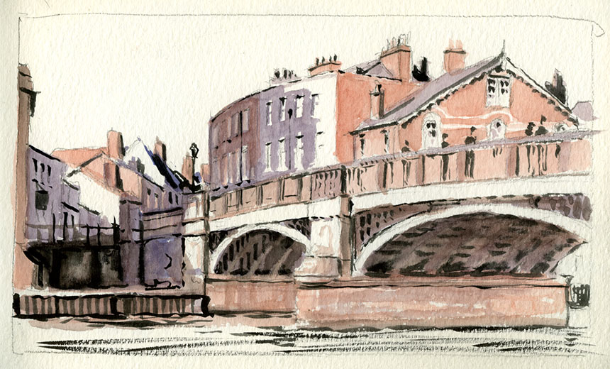 Windsor, eton, thames, bridge, river, watercolour
