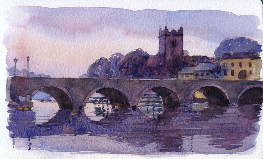 Killaloe, clare, ireland, watercolour