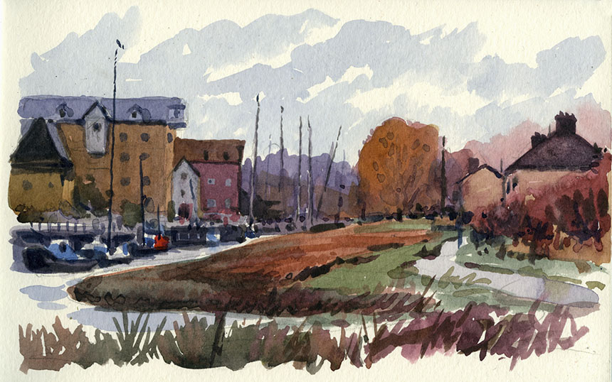 Faversham creek, kent, watercolour
