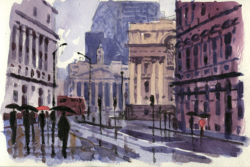 Royal Exchange, London, City, watercolour