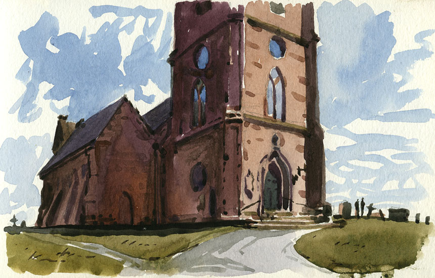 Hanbury Church, worcestershire, church, watercolour