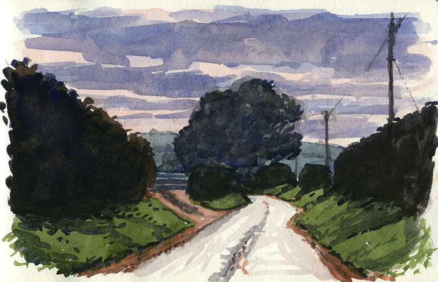 Dorset, watercolour, road