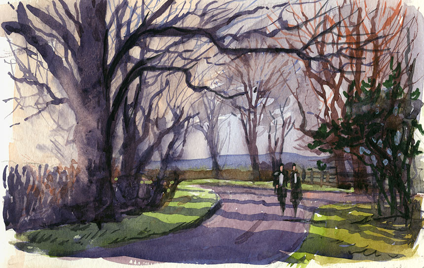 Hanbury, worcestershire, road, trees, walkers, watercolour