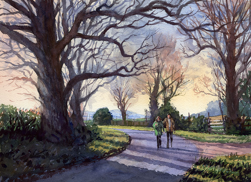 Hanbury, Watercolour, Road, trees