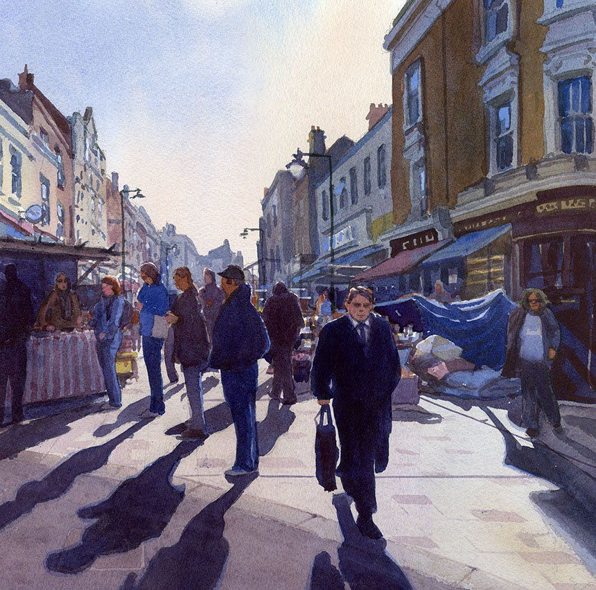 Deptford, Market, London, watercolour
