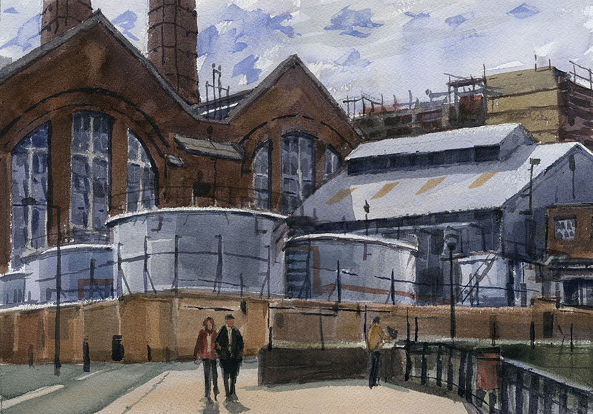 Greenwich, powerstation, watercolour, thames, London