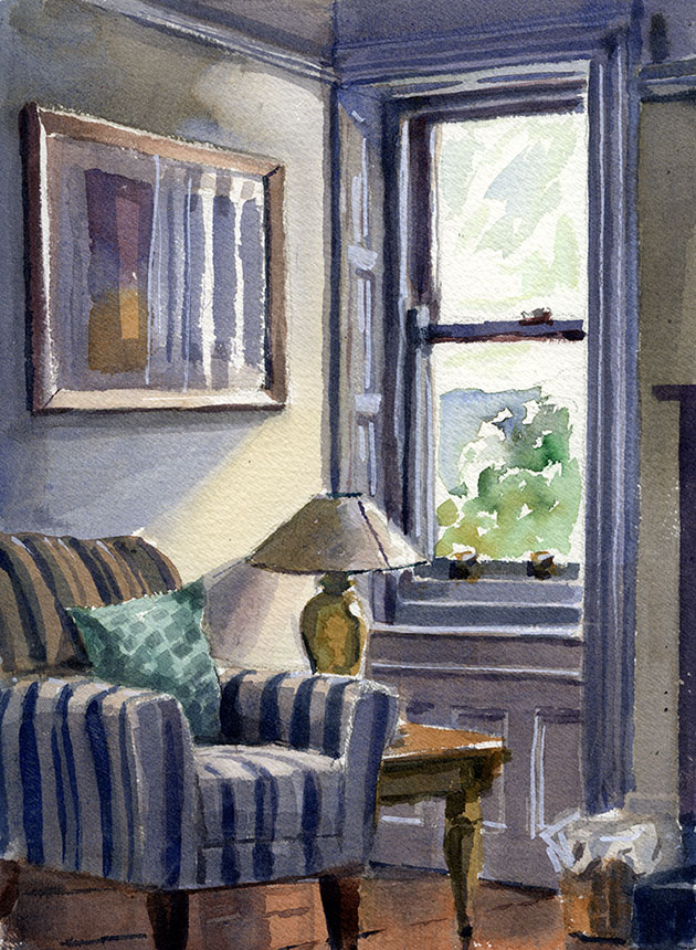 Atlantic Lodge, sennen, cornwall, interior, watercolour