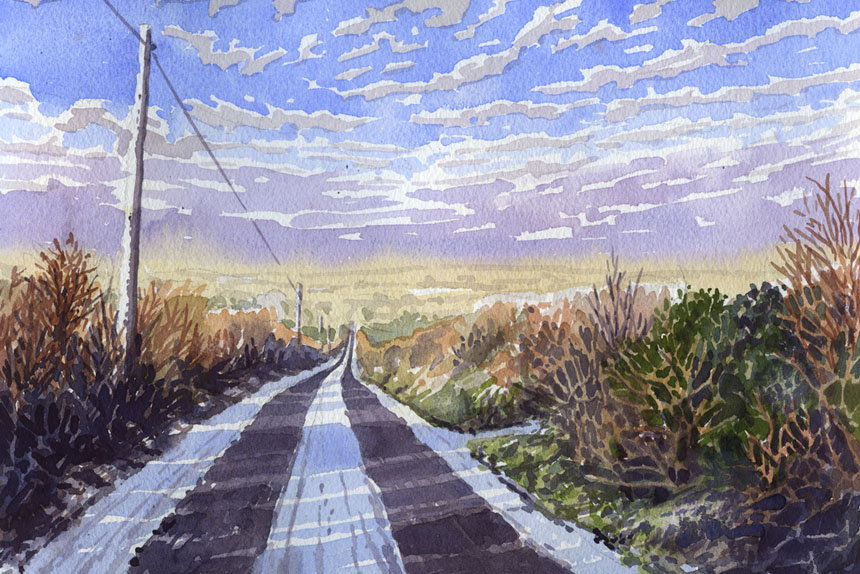 Ireland, Eire, Co Clare, Watercolour, painting
