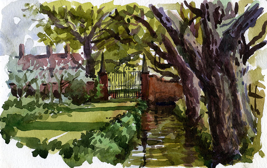 Berrington Hall, Somerset, watercolour