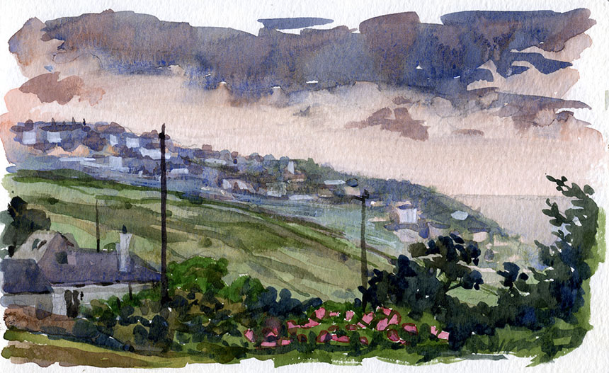 Sennen, watercolour, plein air