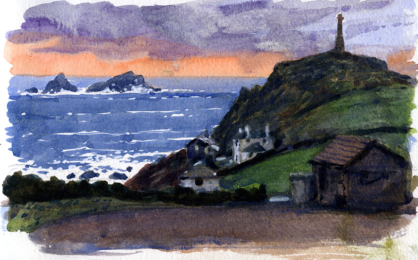 Cape Cornwall, sea, watercolour