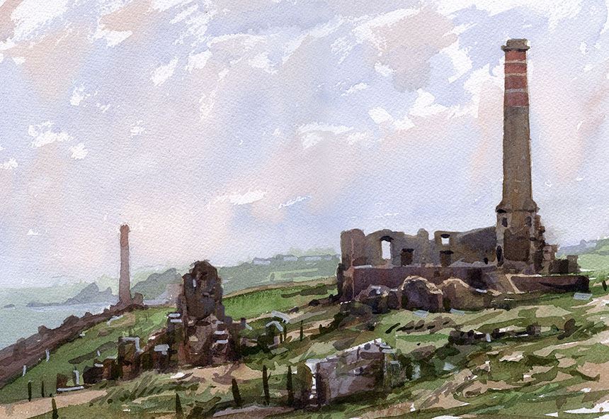 St Just, tin mine, Levant Mine, cornwall, chimney, watercolour.