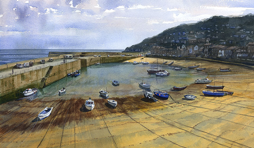 Mousehole, cornwall, watercolour, painting, boats, harbour