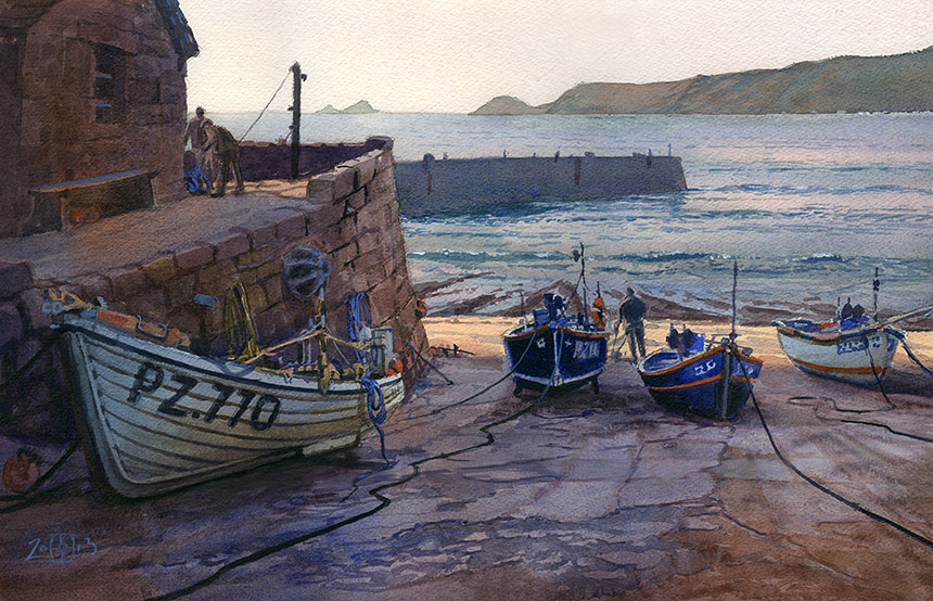 Sennen Cove, Cornwall, fishing boats, sea, fishermen, watercolour