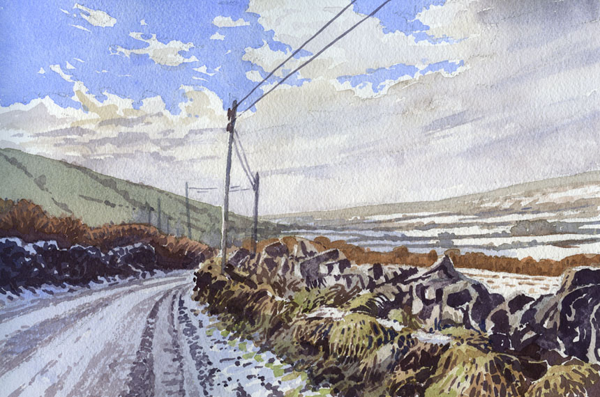 Carron, Eire, Ireland, Watercolor, Watercolour, painting