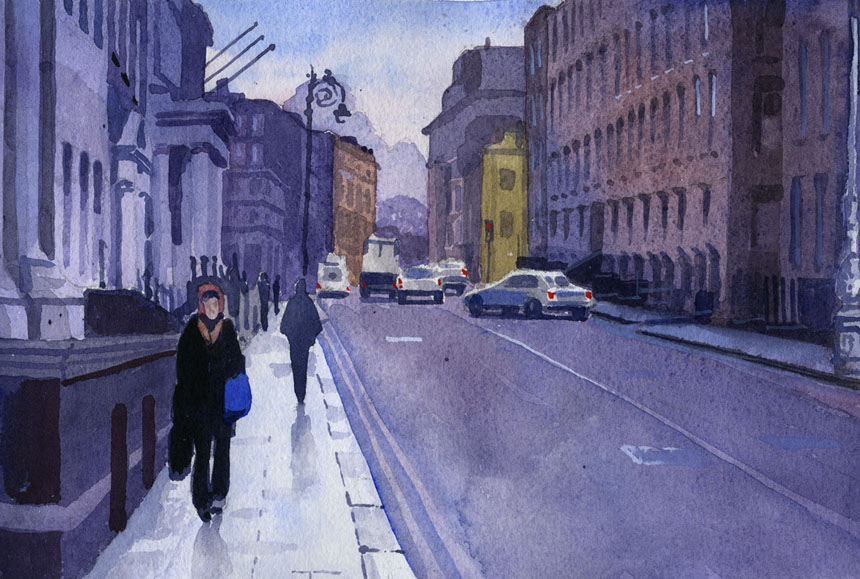 Dublin, Ireland, Eire, watercolour, watercolor, painting