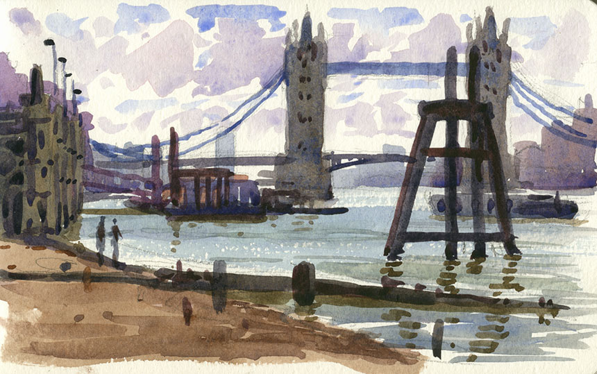 Pool of London, Thames, watercolour