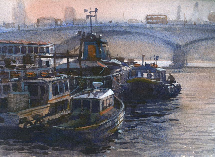 Plein air Thames, London, watercolour