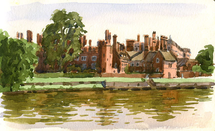 Hampton Court, Thames, watercolour