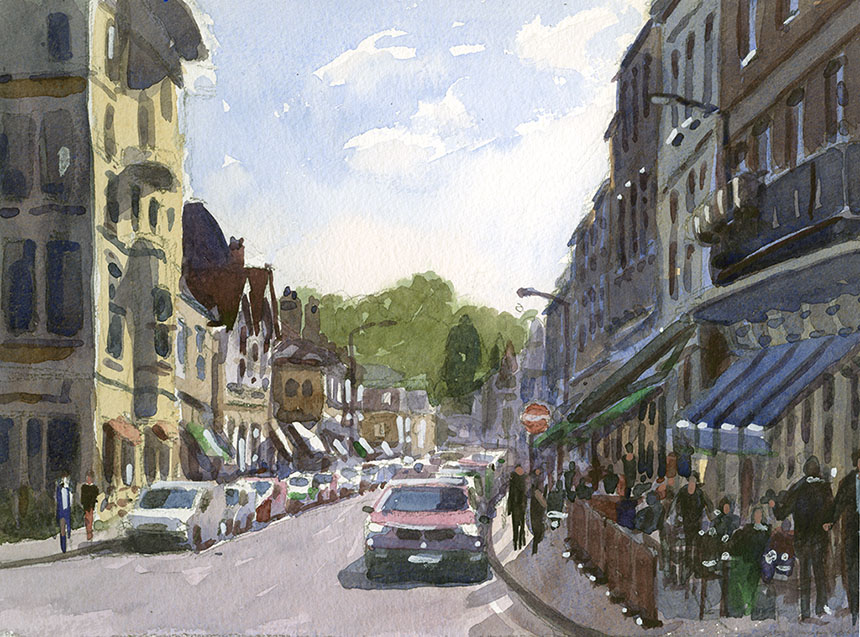 Molesey, Hampton Court, Bridge St, watercolour